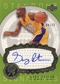 2003-04 Upper Deck Triple Dimensions Standout Sigs #10 Gary Payton 08/25
