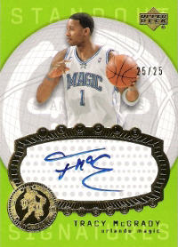 2003-04 Upper Deck Triple Dimensions Standout Sigs #7 Tracy McGrady 25/25 (X)