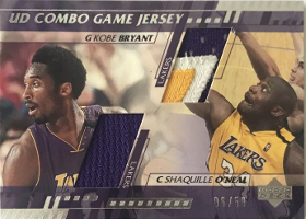 (2001 Lakers) 2000-01 Upper Deck Game Jerseys Combo 2 #KBSO Kobe Bryant / Shaquille O'Neal 06/50 (X)