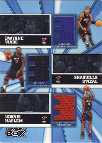 (2006 Heat) 2005-06 Topps Luxury Box Trinity Triple Relics 25 #WHO Dwyane Wade / Shaquille O'Neal / Udonis Haslem 13/25 (X)