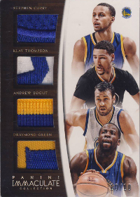 (2015 Warriors) 2014-15 Immaculate Collection Quad Materials Prime #QGSW Andrew Bogut / Draymond Green / Klay Thompson / Stephen Curry 10/10 (X)