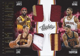 (2016 Cavaliers) 2015-16 Absolute Memorabilia Team Quads Materials Prime #TQCLE Kevin Love / LeBron James / Kyrie Irving / Tristan Thompson 4/5 (X)