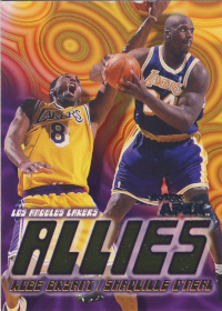 (2000 Lakers) 1999-00 Finest Double Feature Dual Refractors #DF14 Kobe Bryant / Shaquille O'Neal (INS missing!)