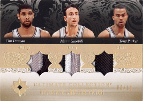 (2007 Spurs) 2006-07 Ultimate Collection Combos Patches Triple #DPG Tim Duncan / Tony Parker / Manu Ginobili 08/10 (X)
